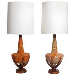 Large Marcello Fantoni Italian Ceramic Lamp With Enamel