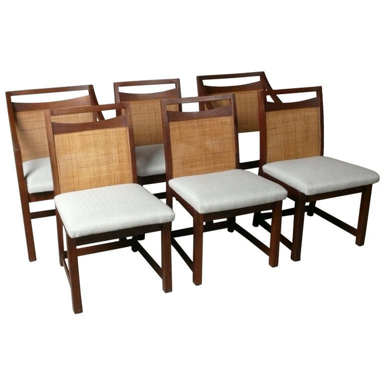 Walnut And Cane Dining Chairs, 1960s At 1stdibs