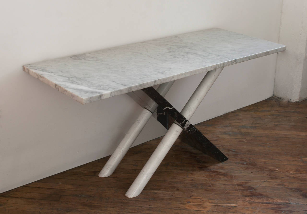 Mid-Century Modern Italian Marble Console Table For Sale