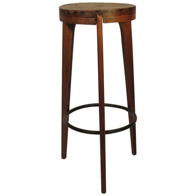 French Bar Stool Attributed to Pierre Jeanneret 1