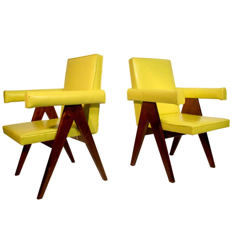 Pair Of Committee Chairs By Pierre Jeanneret At 1stdibs