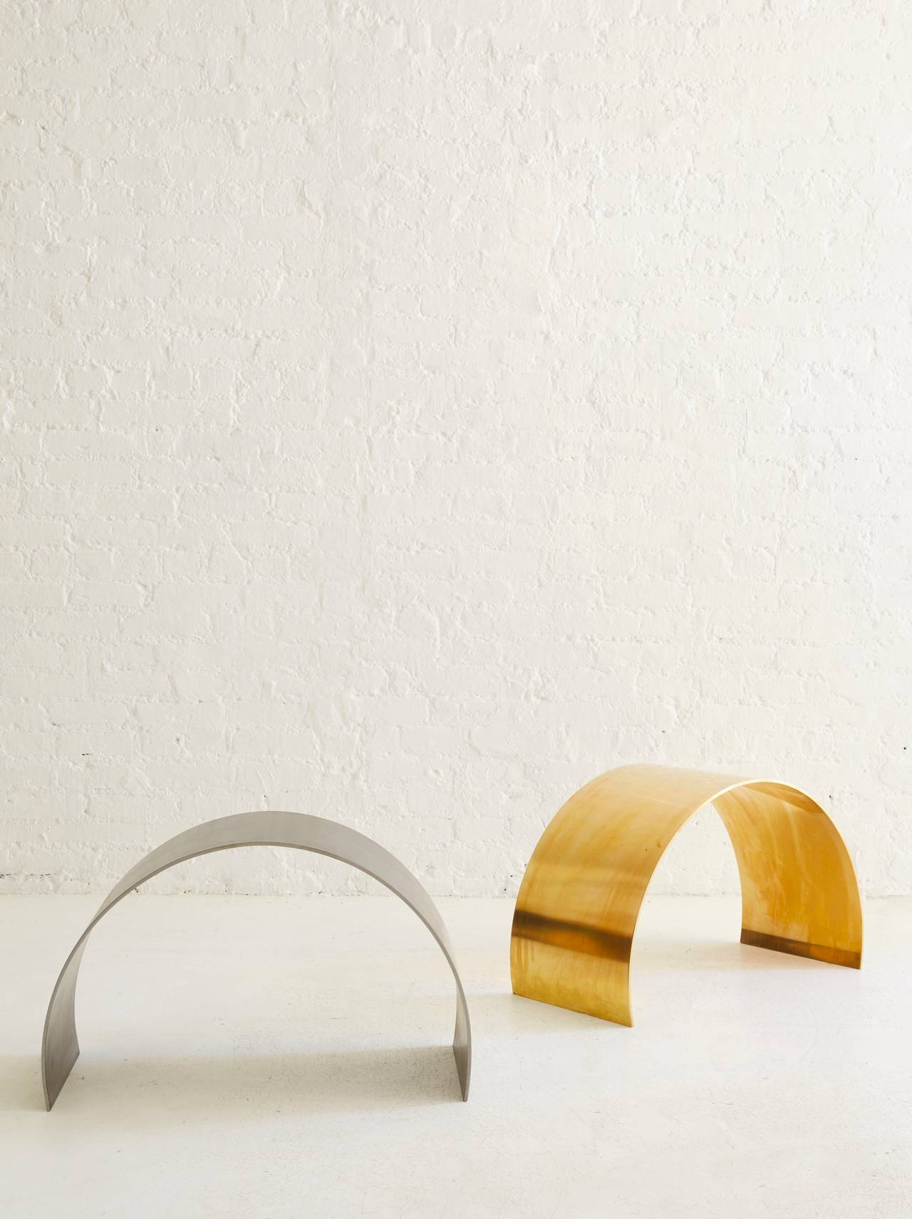 Arc Stool by ASH NYC in Brass In New Condition In New York, NY