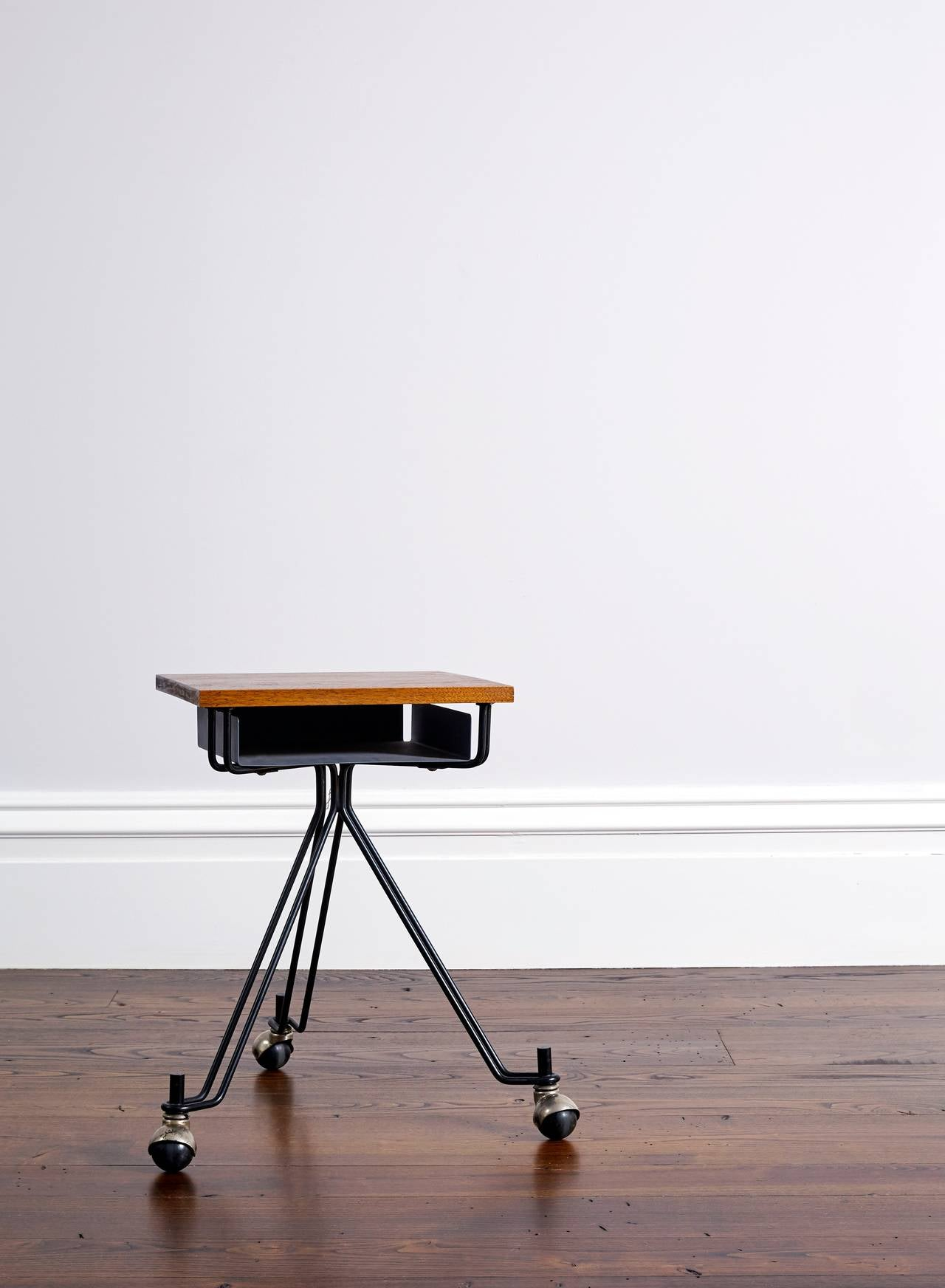Eliot Noyes Designed Rolling Typewriter Table With Mahogany Top And Lower  Open Gray Metal Storage Shelf