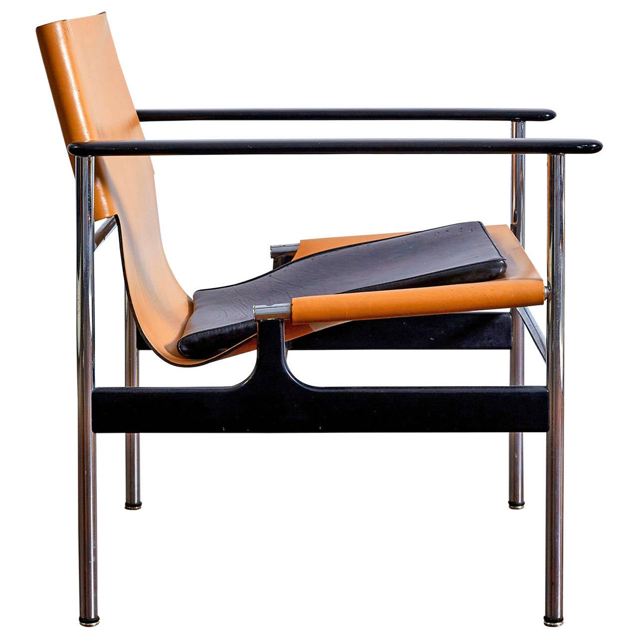 Modern sling chairs - Pollock For Knoll 657 Leather Sling Armchair 1