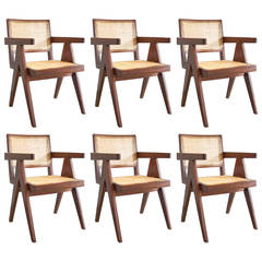 Set of Six Pierre Jeanneret Office Armchairs