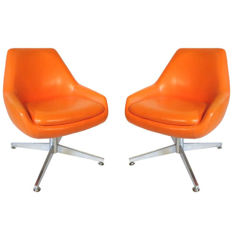 Pair Midcentury Orange Vinyl Chairs At 1stdibs