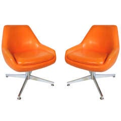 Pair, Midcentury Orange Vinyl Chairs