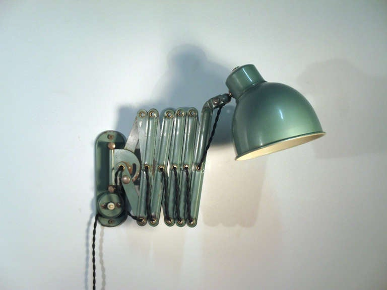 Wall Mounted Accordion Lamps : Green Enamel Vintage Accordion Wall Lamp at 1stdibs