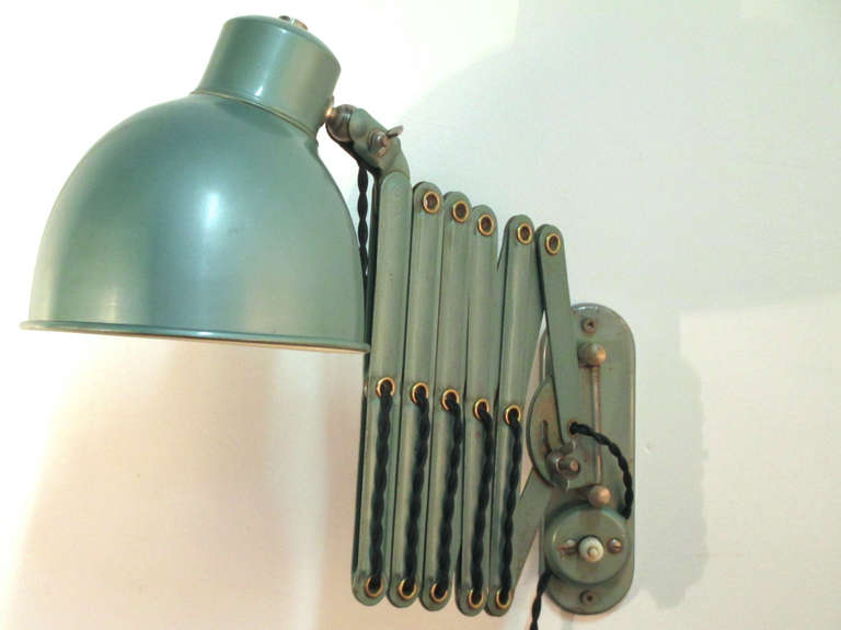 Green Enamel Wall Lights : Green Enamel Vintage Accordion Wall Lamp at 1stdibs
