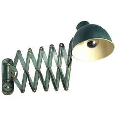 Green Enamel Vintage Accordion Wall Lamp
