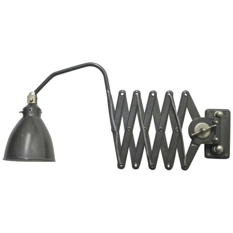 Wall Mounted Accordion Lamps : Vintage Black Enamel Accordion Wall Lamp at 1stdibs