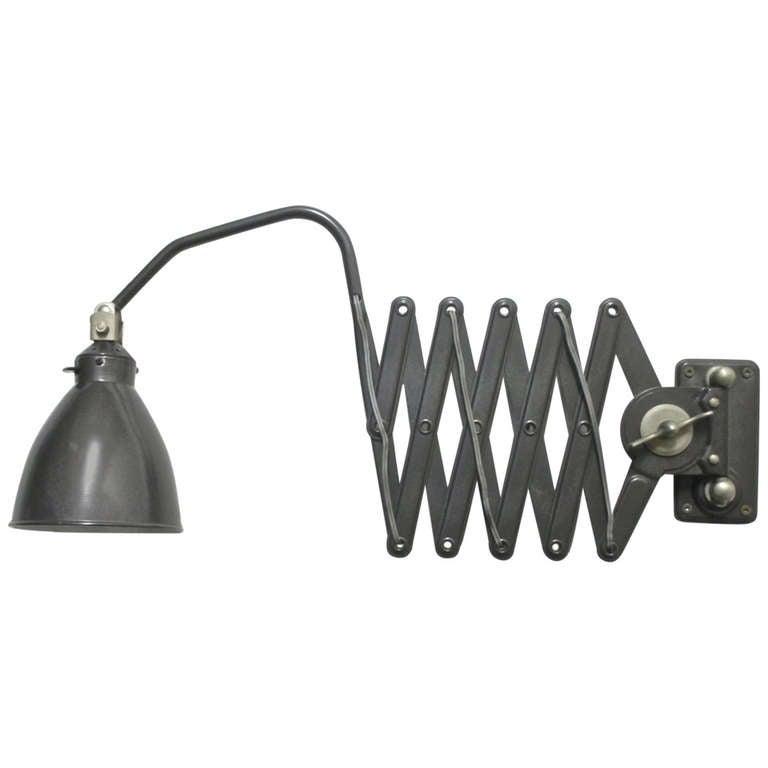 Vintage Black Enamel Accordion Wall Lamp at 1stdibs