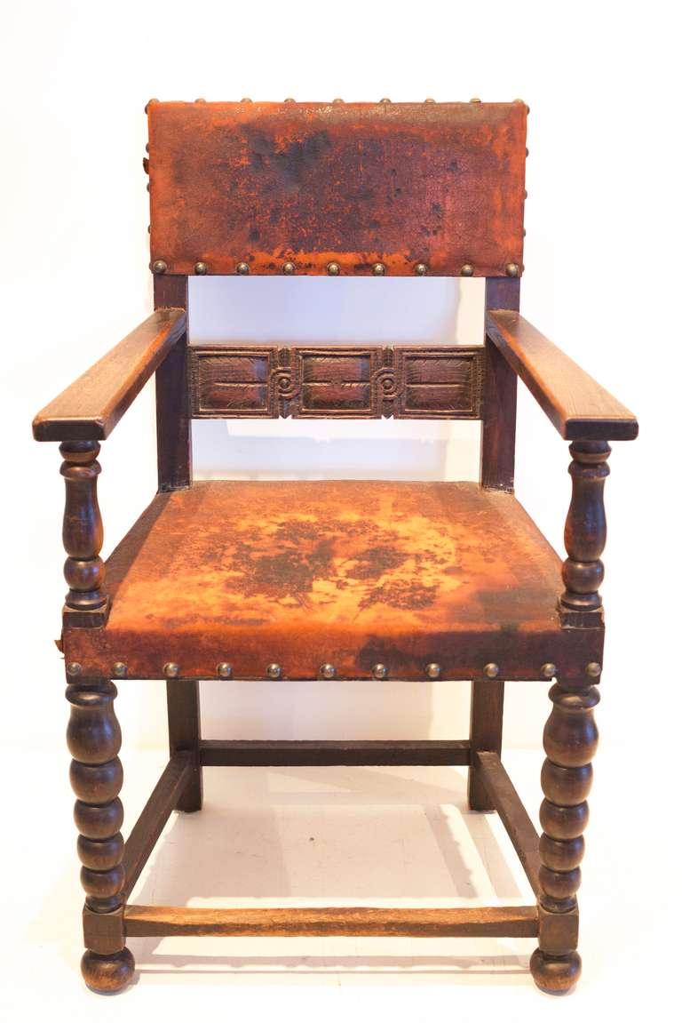 Spanish Revival Leather Throne at 1stdibs