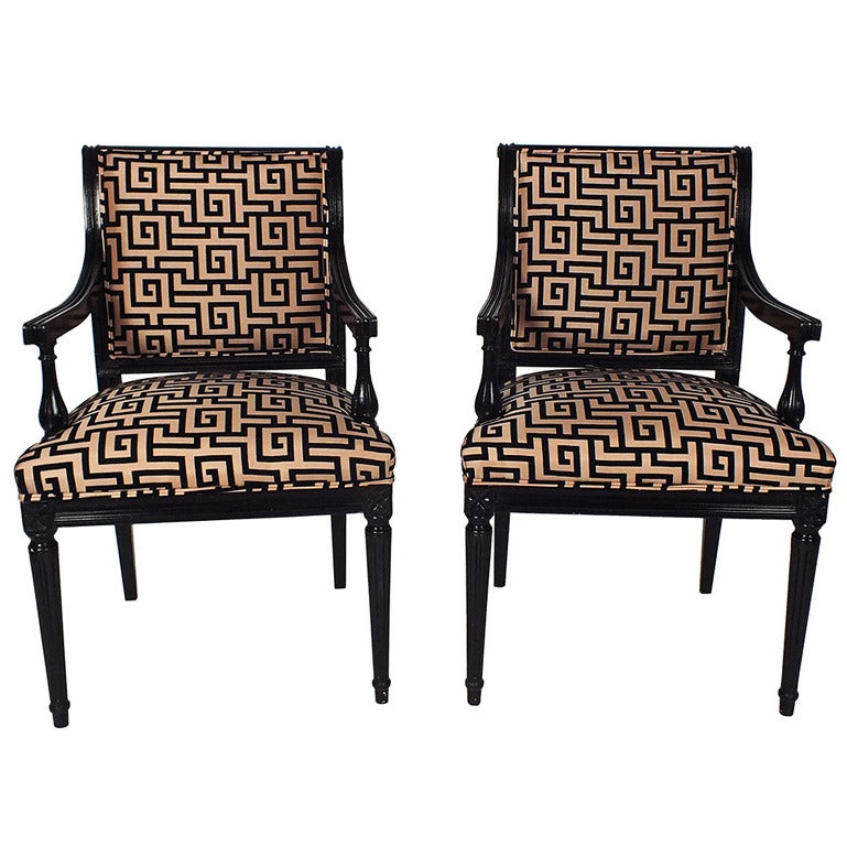 1930 39 s louis xvi style pair of open armchairs at 1stdibs