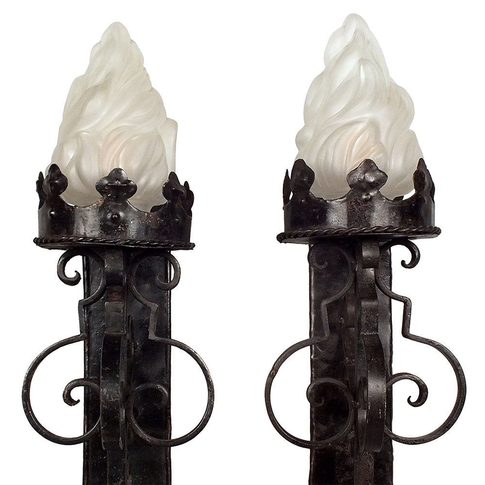 Wall Sconces Wrought Iron : Pair of Baroque-Style Wrought Iron Wall Sconces at 1stdibs