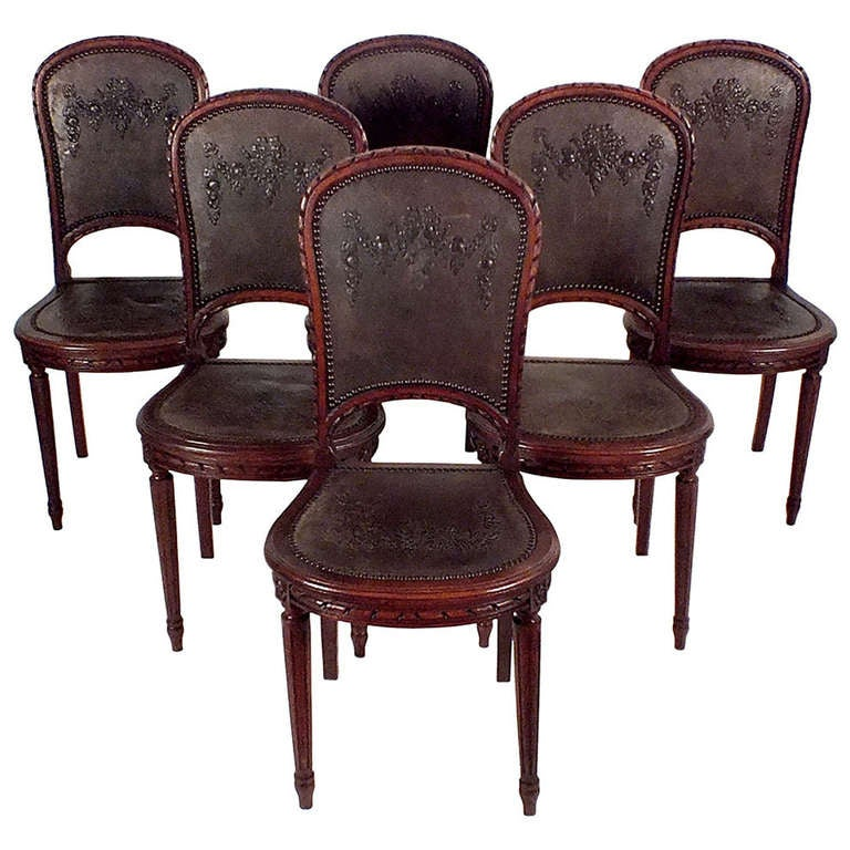 set of six engraved leather dining room chairs at 1stdibs