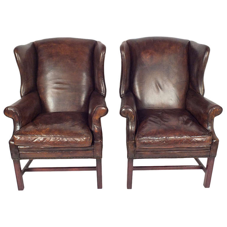 1950 s regency style pair of leather wing back chairs at