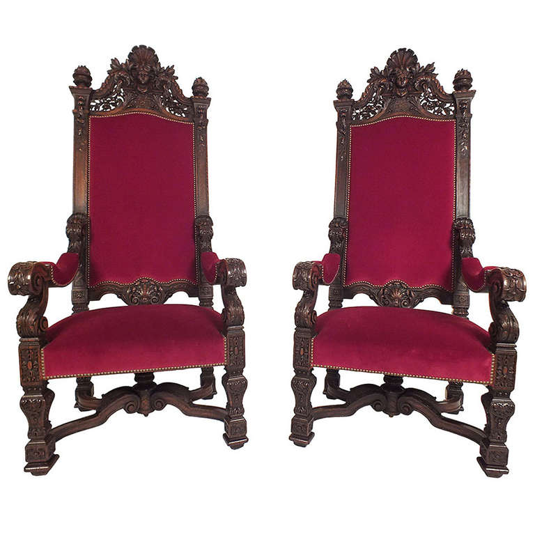 1890 s Louis XVI Style Pair of Throne Chairs 11890 s Louis XVI Style Pair of Throne Chairs For Sale at 1stdibs. Louis Xvi Style Furniture For Sale. Home Design Ideas