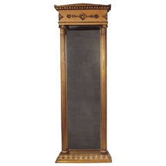 19th Century Empire Style Standing Giltwood Mirror