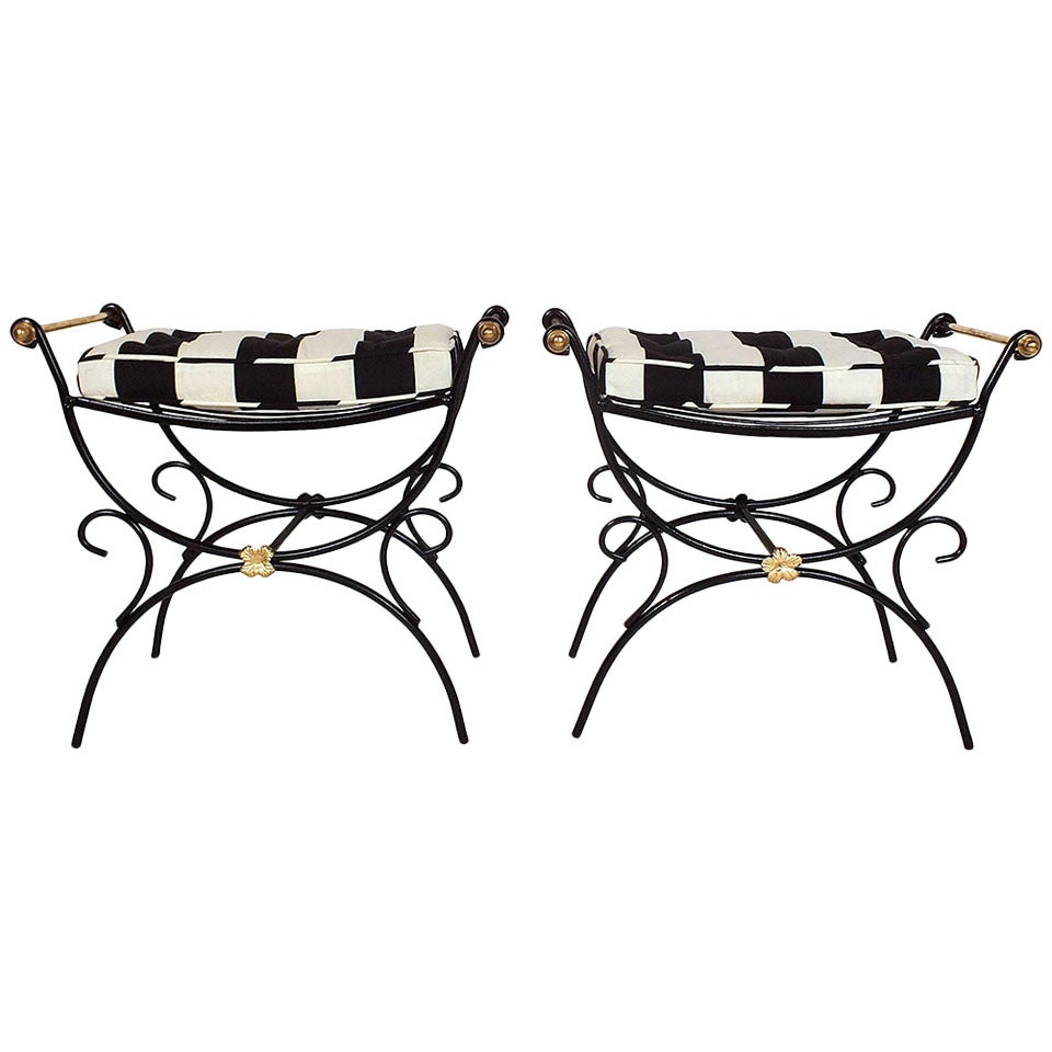 Mid 20th century wrought iron regency style benches at 1stdibs for Mid 20th century furniture