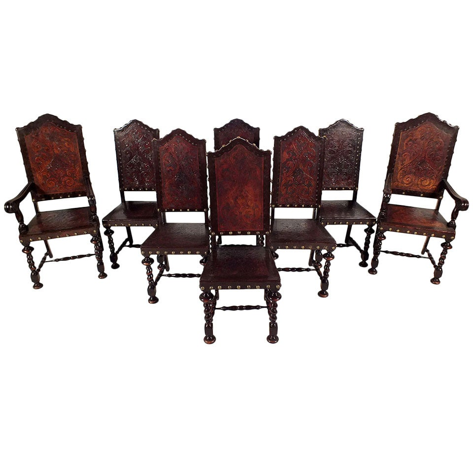 Early 20th Century Set Of Eight Spanish Style Dining Chairs At 1stdibs