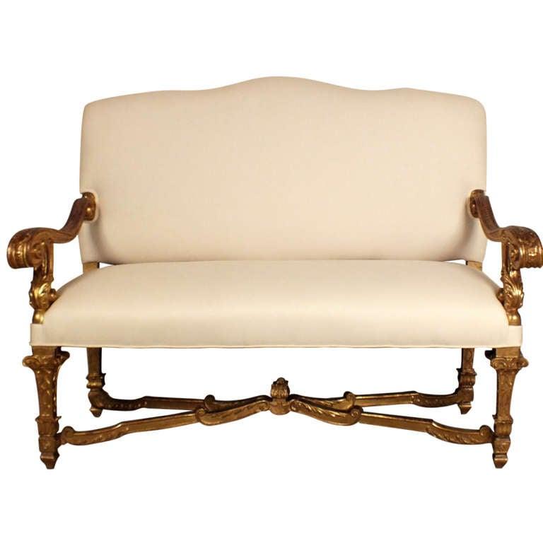 Louis xiv italian giltwood sofa at 1stdibs - Louis xiv sofa ...