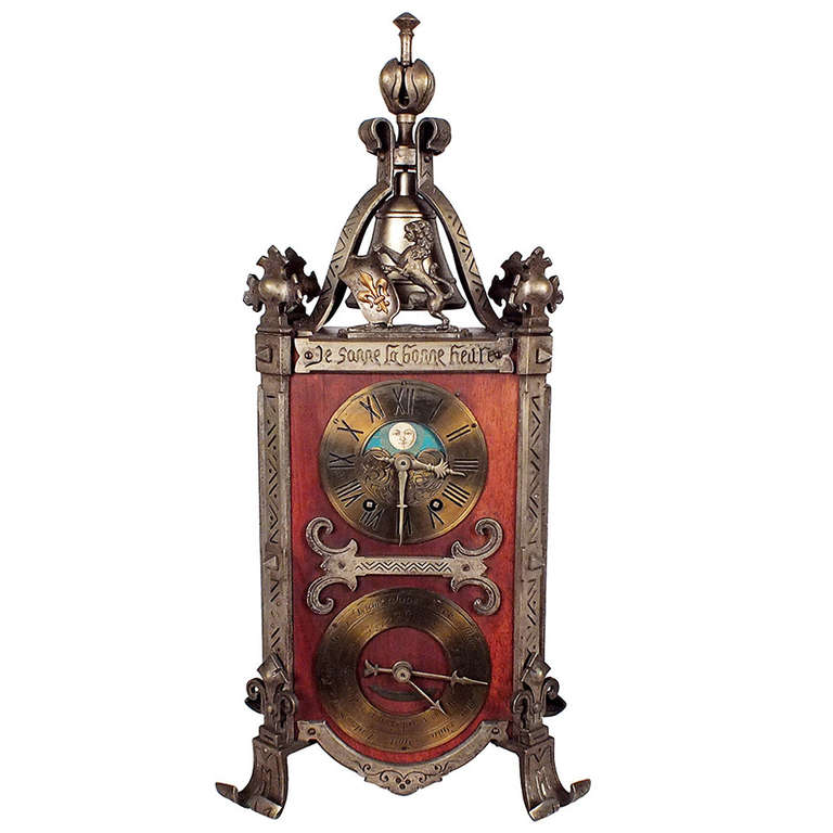 rare french gothic style table or mantle clock for sale at 1stdibs. Black Bedroom Furniture Sets. Home Design Ideas