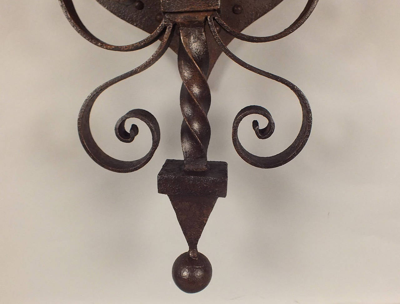 Large Iron Wall Sconces : Pair of Large Wrought Iron Baroque-Style Wall Sconces image 2