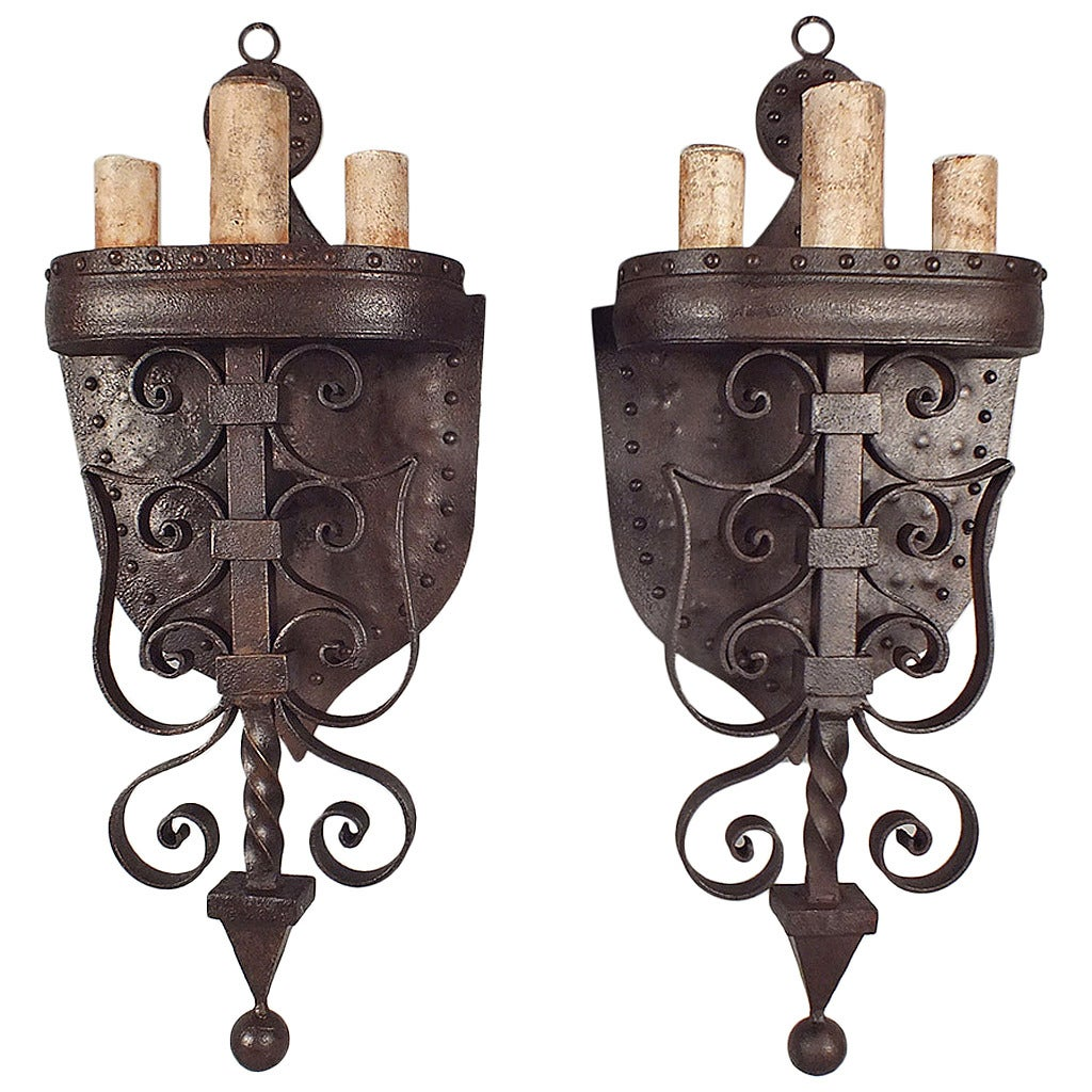 Large Iron Wall Sconces : Pair of Large Wrought Iron Baroque-Style Wall Sconces at 1stdibs