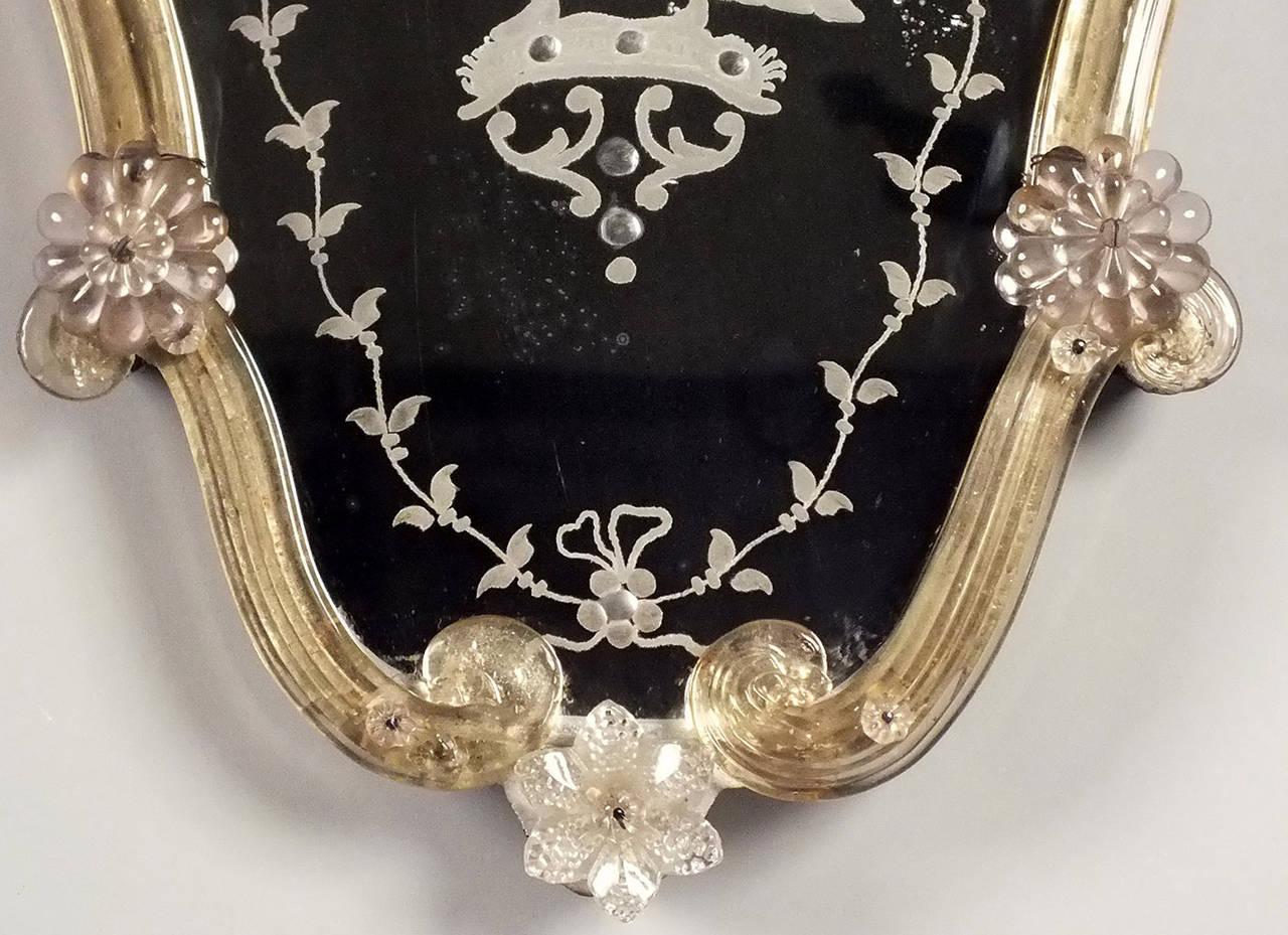 Pair of antique small murano glass venetian wall mirrors for Small wall mirrors for sale