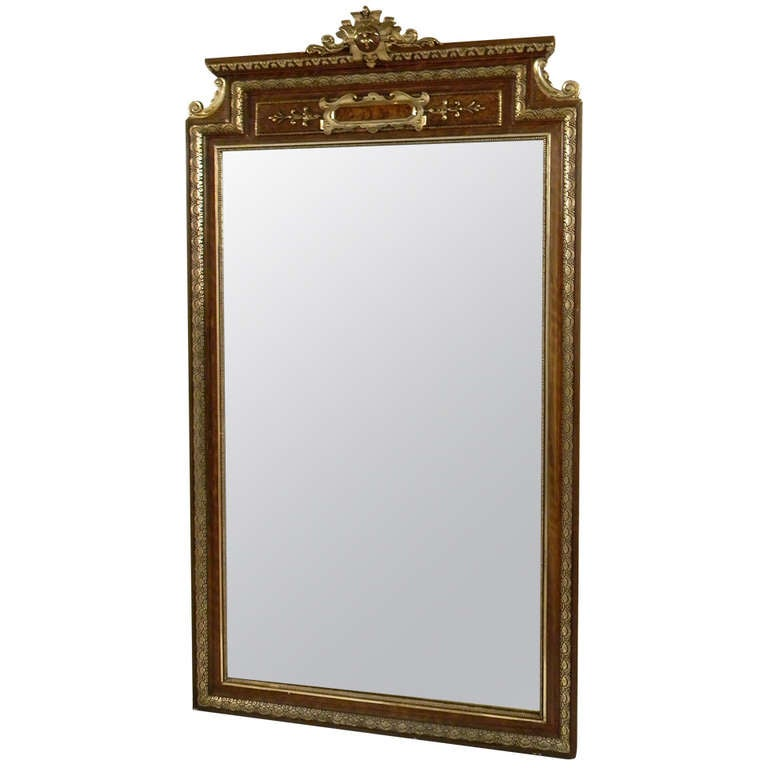European 1930 gold and brown ornate mirror at 1stdibs for Gold floor standing mirror