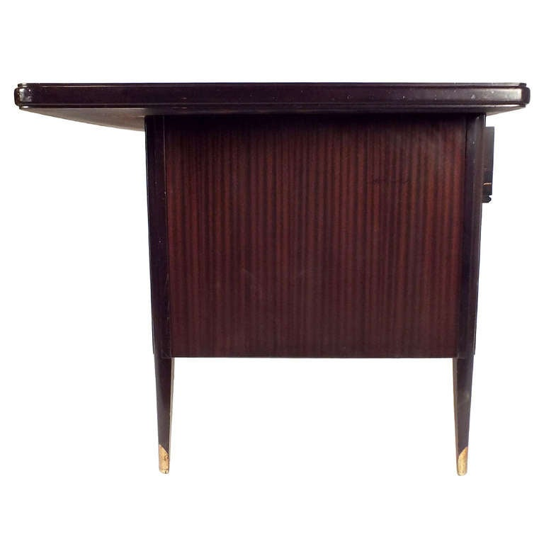 deco style leather top desk at 1stdibs