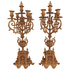 Pair of 19th Century Louis XVI Gold Plated Bronze Candelabras