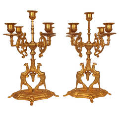 Pair of Empire-style Gold Plated Candelabras