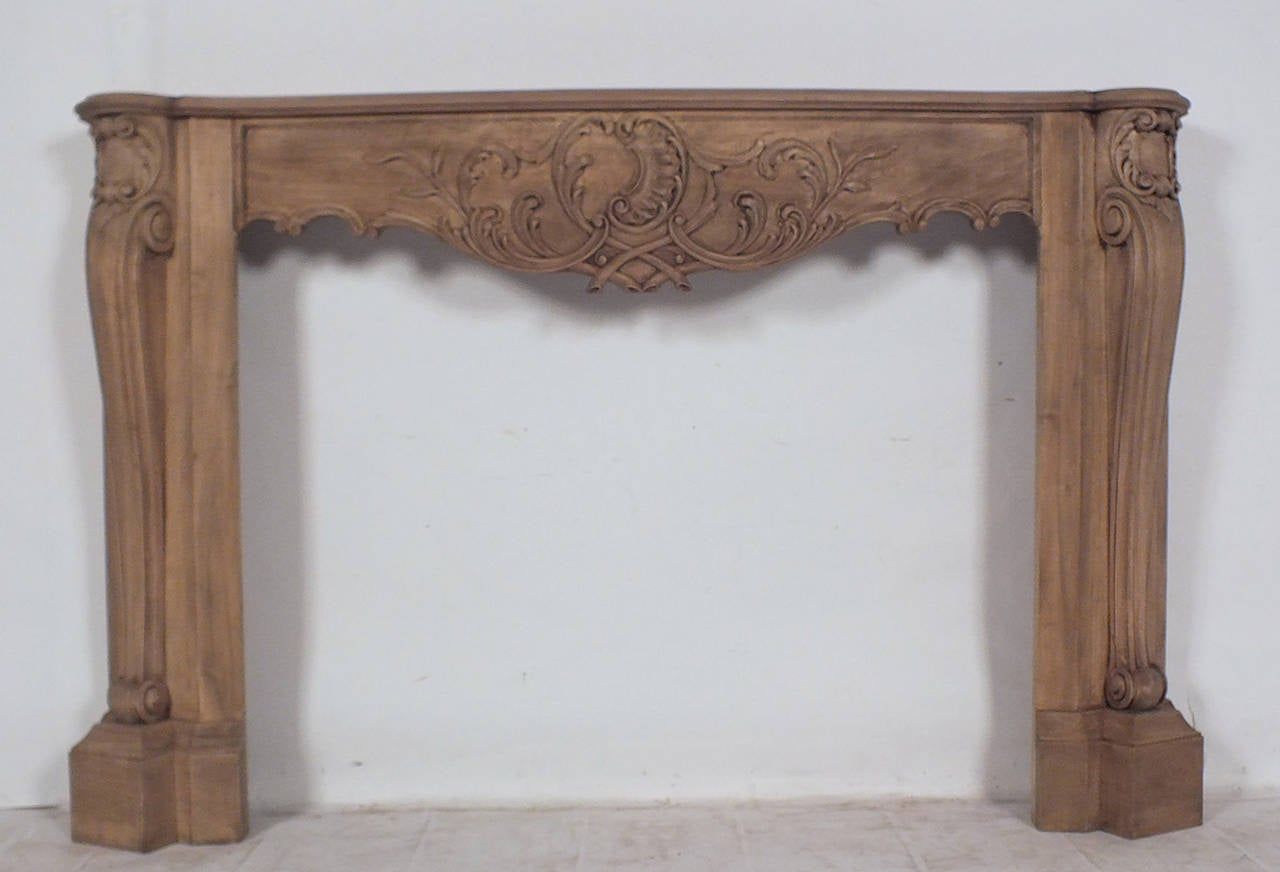 French Louis Xvi Style Bleached Wood Fireplace Mantel For Sale At 1stdibs