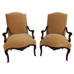 Pair of French Carved Louis XV-Style Armchairs