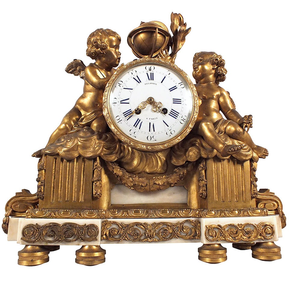 19th Century French Bronze Mantle Clock