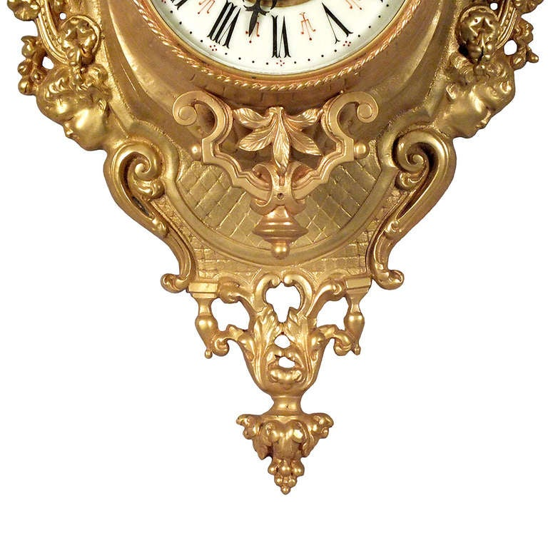 Louis XVI Style Gold Plated Wall Clock 2