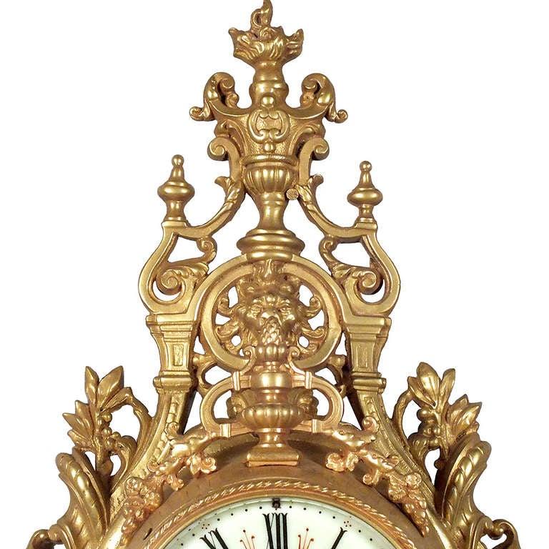 Louis XVI Style Gold Plated Wall Clock 3