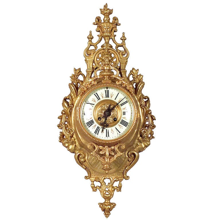 Louis XVI Style Gold Plated Wall Clock 1
