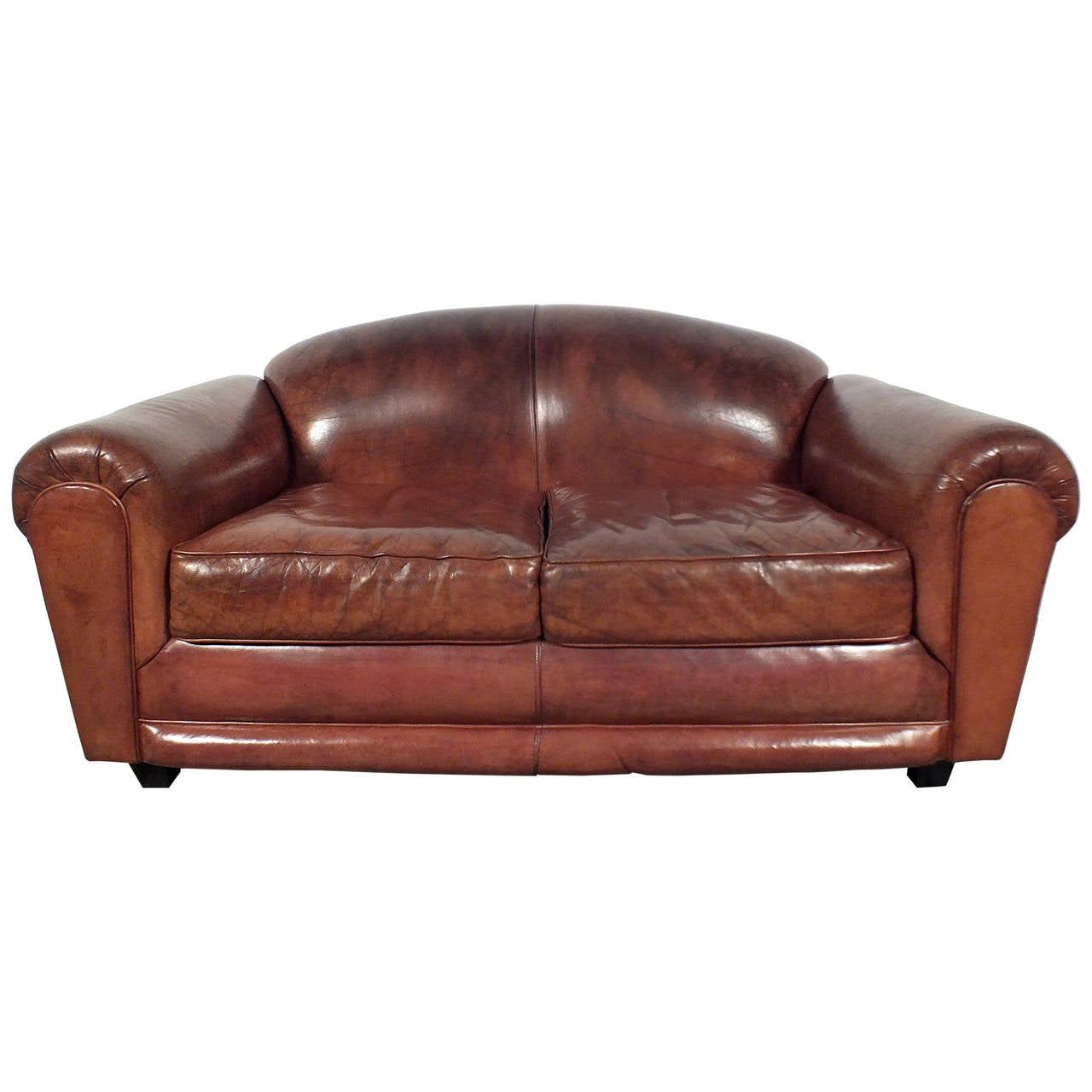 vintage 1960s modern small club leather sofa at 1stdibs