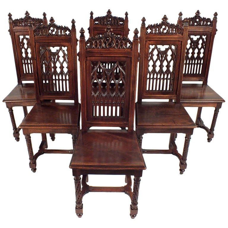 Vintage Style Dining Chairs: Antique 1900's Gothic Style Dining Chairs At 1stdibs