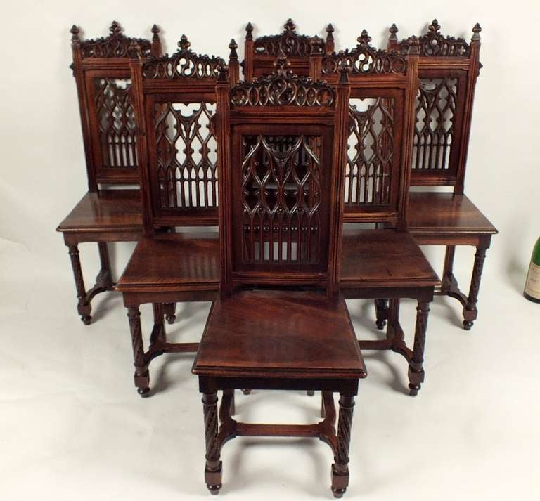 Antique 1900 S Gothic Style Dining Chairs At 1stdibs Gothic Dining Table  And Chairs