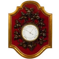 Art Nouveau Walnut Wall Barometer