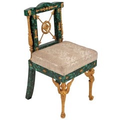 20th Century Empire Style Malachite and Bronze Chair