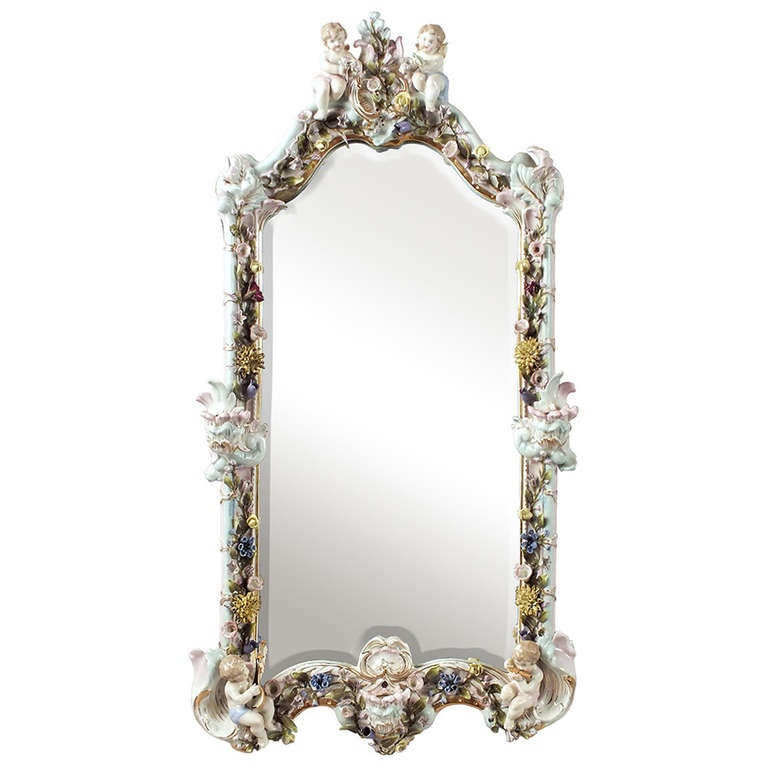 German porcelain mirror with candleholders and cupids for for Mirror holders