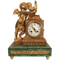 19th Century French Malachite and Bronze Mantle Clock