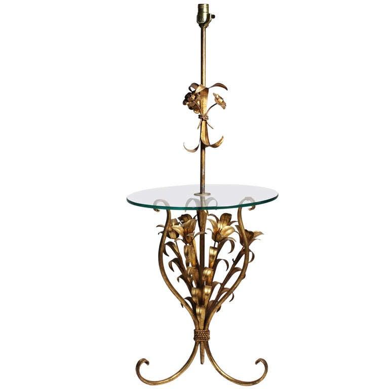 Hollywood Regency Italian Gilt Metal Tole Floor Lamp Table