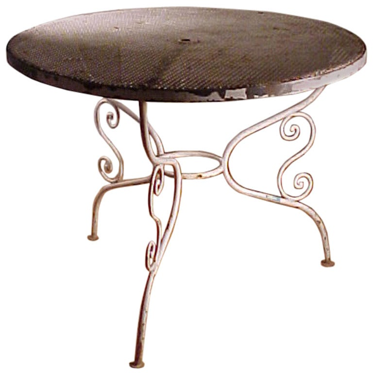 Garden Patio Outdoor Wrought Iron Dining Dinette Table At 1stdibs