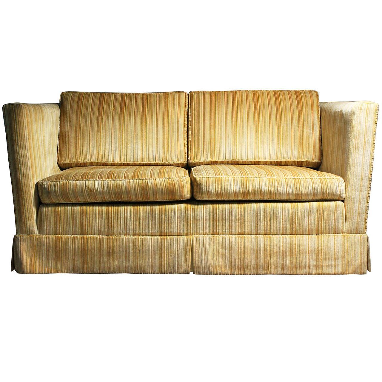 Tuxedo Loveseat Sofa on Castors Dunbar Edward Wormley / style Milo Baughman  1